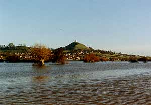 Glastonbury Tor in flood