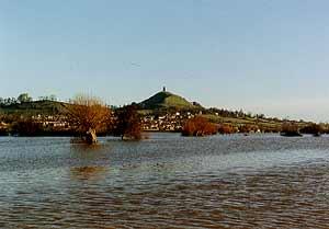 Glastonbury Tor in flood